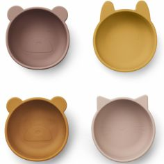 Lot de 4 bols en silicone Iggy rose mix