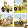 Set petits puzzles Le tracteur de Peter (4 puzzles) - Janod
