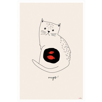 Affiche Chat Oups (60 x 40 cm)  par Mimi'lou