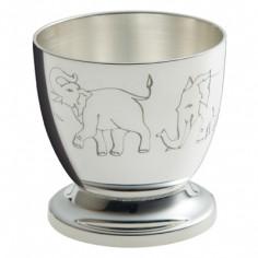 Coquetier Eléphants (métal argenté)