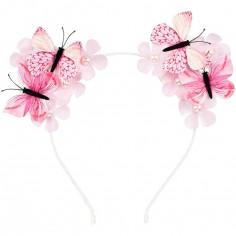 Serre-tête papillon Scottie rose