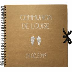 Album photo communion personnalisable kraft et argent (30 x 30 cm)