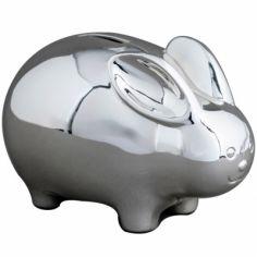Tirelire Lapin personnalisable (métal argenté)