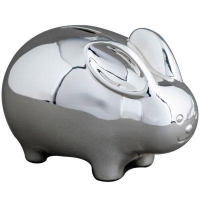 Tirelire Lapin personnalisable (métal argenté)  par Daniel Crégut