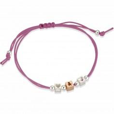 Bracelet cordon magenta 1 cube garçon 2 cubes coeur (or rose 375° et argent 925°)