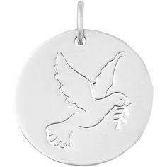 Médaille colombe ajourée (or blanc 18 carats)