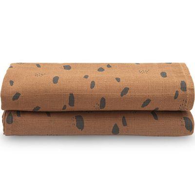 Lot de 2 maxi langes hydrophiles Spot caramel (115 x 115 cm)  par Jollein