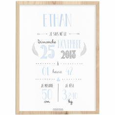 Affiche de naissance encadrée A4 bleu ciel (personnalisable)