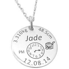 Médaille de naissance ronde avec chaîne (argent 925° rhodié)