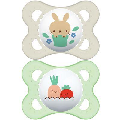 Lot de 2 sucettes anatomiques Original lapin et légumes en silicone (2-6 mois)  par MAM