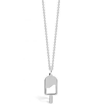 Collier chaîne 40 cm pendentif Mini Coquine glace 18 mm (argent 925°)  par Coquine