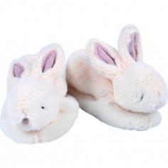 Chaussons Lapin bonbon avec hochet écru (6-12 mois)