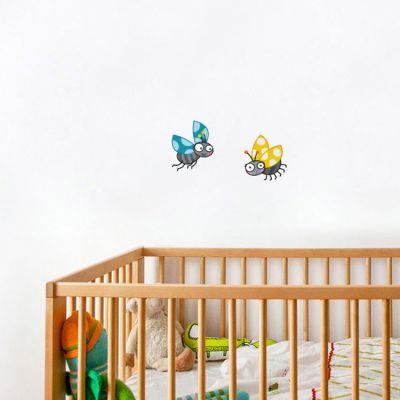 Stickers muraux coccinelles coccis jaune et bleu  par Série-Golo