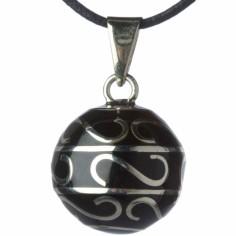 Bola noir arabesques argentées