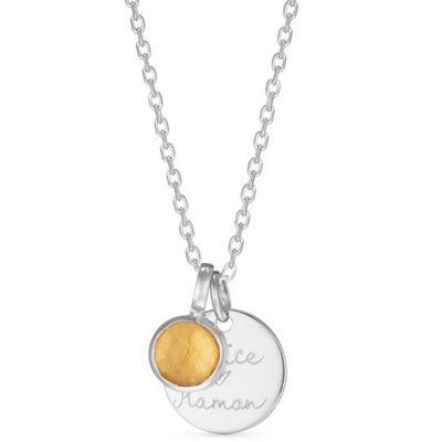 Collier message et pierre de naissance personnalisable (argent 925°) Merci Maman