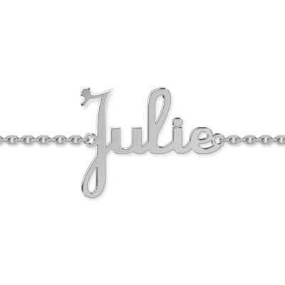 Bracelet bébé prénom découpé police script (or blanc 375°)  par Louis de l'Ange