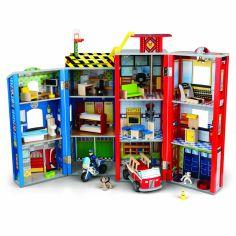Garage caserne de pompiers et véhicules d'urgence