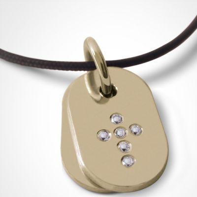 Collier cordon de baptême avec diamants personnalisable (or jaune 750°)  par Mikado