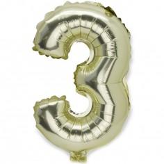 Ballon aluminium mylar Doré petit chiffre 3