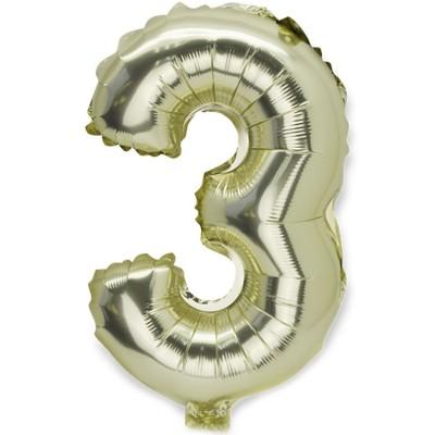 Ballon aluminium mylar Doré petit chiffre 3  par Arty Fêtes Factory