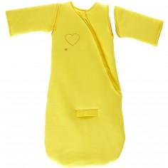 Gigoteuse chaude à manches coton bio Jersey Coeurs 3 en 1 jaune citron TOG 3 (105 cm)