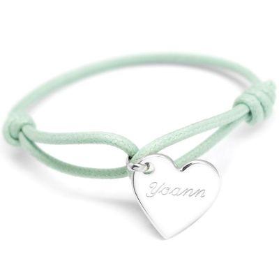 Bracelet cordon maman Kids coeur (argent 925°)  par Petits trésors