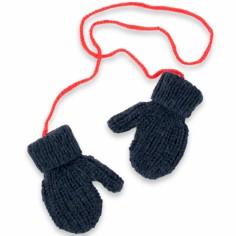 Moufles Fernand tricotées main bleu et rouge (2-4 ans : 86 à 104 cm)