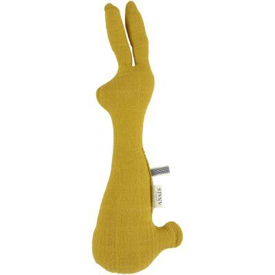 Hochet lapin Bliss jaune moutarde (30 cm)  par Les Rêves d'Anaïs