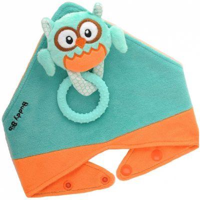 Ensemble de dentition avec bavoir, jouet et anneau Ollie la chouette  par Malarkey Kids