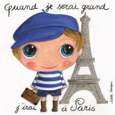 Tableau Quand je serai grand j'irai à Paris (30 x 30 cm)
