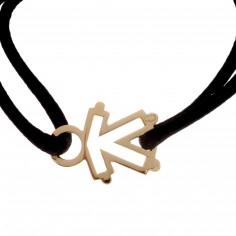 Bracelet cordon silhouette ajourée petit garçon 20 mm (or jaune 750°)