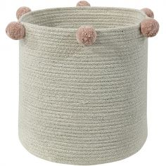 Panier de rangement Bubbly en coton naturel et rose nude (30 x 30 cm)