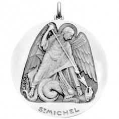 Médaille Saint Michel (or blanc 750°)