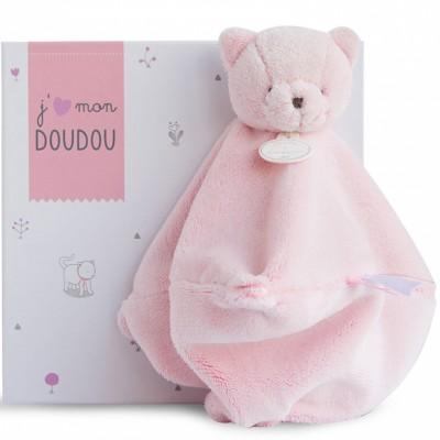 Doudou plat chat rose (25 cm) Doudou et Compagnie