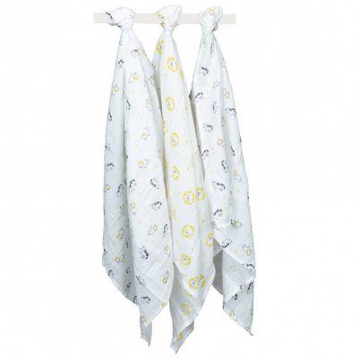 Lot de 3 langes en coton bio Pluche et Pompon (70 x 70 cm)  par Sauthon