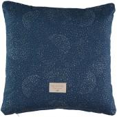 Coussin carré Descartes Gold bubble Night blue (38 x 38 cm) - Nobodinoz