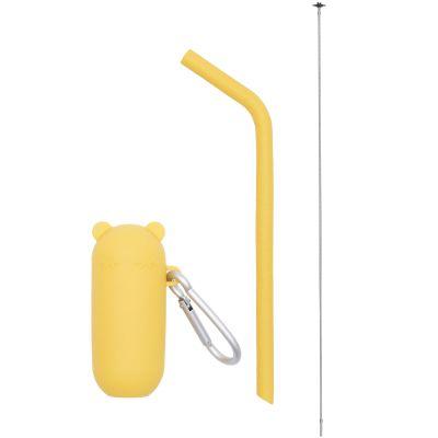 Paille réutilisable avec étui Keepies Ours jaune  par We Might Be Tiny