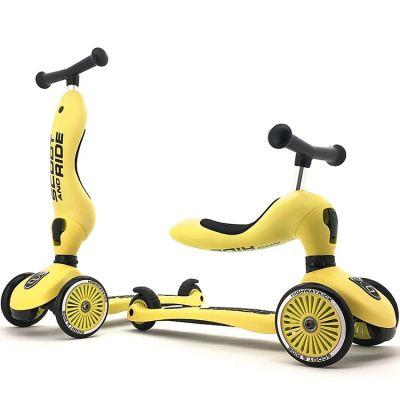 Porteur évolutif en trottinette Highwaykick 1 jaune citron  par Scoot And Ride