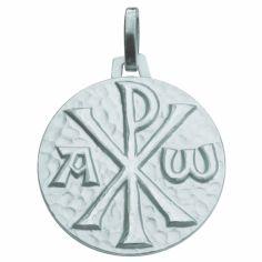 Médaille ronde Monogramme du Christ 18 mm (argent 925°)