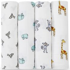 Lot de 4 maxi langes Swaddle animaux Jungle Jam