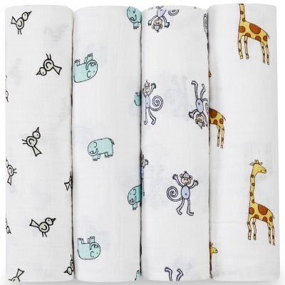 Lot de 4 maxi langes Swaddle animaux Jungle Jam aden + anais