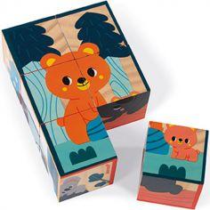 Puzzle cubes en bois Animaux WWF (6 cubes)