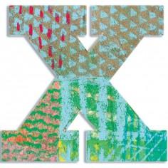 Lettre X en bois Paon