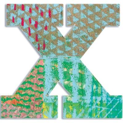 Lettre X en bois Paon  par Djeco