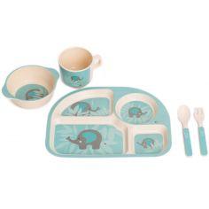 Coffret repas bébé en maïs Éléphant bleu