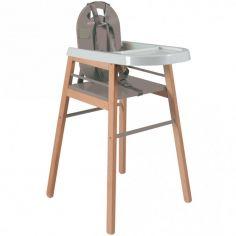 Chaise haute Lili bois et laque gris clair
