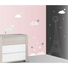 Stickers nuage et Tour Eiffel Lilibelle (60 x 80 cm)  par Sauthon
