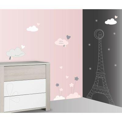 Stickers nuage et Tour Eiffel Lilibelle (60 x 80 cm) Sauthon Baby Déco