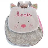 Sac à dos chat gris Les Pachats (personnalisable) - Moulin Roty
