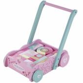 Chariot de marche avec blocs en bois Pink Blossom - Little Dutch